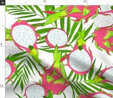 New listing Dragon Fruit Palm Leaves Tropical Summer Pattern Spoonflower Fabric by the Yard