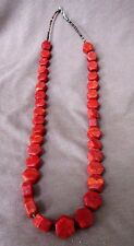 Navajo Apple Coral & heishi  Necklace with silver clasp by Dinah Bekeyah JN0053