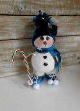 Hand Painted Winter Christmas Snowman  Doll Gourd...