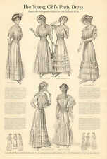 Ladies Fashion, The Young Girl's Party Dress, Vintage, 1916 Antique Print.
