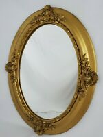"""Antique Ornate Oval Gold Gilt Gesso Wood Wall Mirror Victorian 19.5"""" x 25.5"""""""