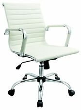 Febland White Eames Style Office Chair, Faux Leather