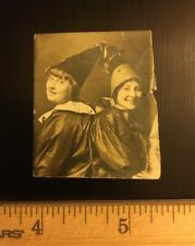 Vintage 1930's Photo Booth Snapshot Halloween Photo - 2 GIRLS DRESSED AS CLOWNS