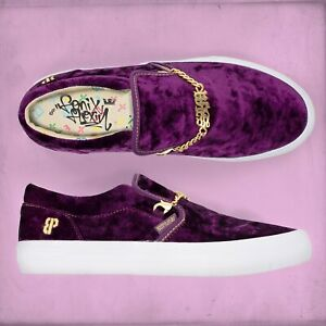 NIB Supra Suede Cuba LX Flexin (Purple Velvet) Slip-On Men's Shoe Gold Chain