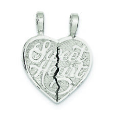 .925 Sterling Silver Sweet Heart 2-piece Break Apart Heart Charm Pendant
