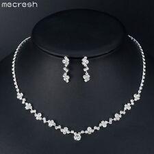 Mecresh Elegant Simple Clear Crystal Wedding Necklace Earring Set Bridal Jewelry