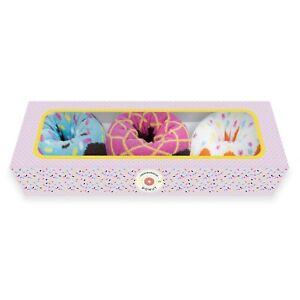 1SOCK2SOCK Women's Donut Crew Socks 3-Pair Gift Colorful Cotton Shoe Size 6-10