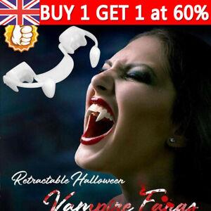 Retractable Vampire Teeth Halloween Cosplay Make up Horrific Fangs Zombie Teeth
