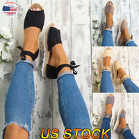 US Women's Ankle Flatform Wedges Shoes Espadrilles Fashion New Platform Sandals