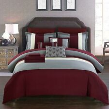 Chic Home Moriarty 10 Piece Comforter Set Color Block Ruffled Bed in a Bag...