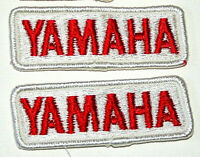 Set of 2 Vintage Yamaha Small White Cloth Jacket Hat Patch New NOS 1980s Biker