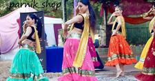 Bollywood Dancing Embroidered Chiffon Skirt for Dancing Tribal Costume