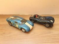 VINTAGE SLOT CARS x 2  ,  SPARES OR REPAIRS  , FORD GT , SCALEXTRIC