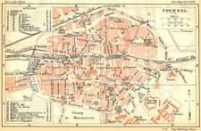 BELGIUM. Tournai. Town city ville plan carte map 1924 old vintage chart