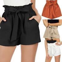 Women Casual Solid Ruffles Bowknot Pocket High Waist Short Pants