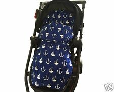 2in1 PRAM SEAT LINER FOOTMUFF SLEEPING BAG COSY TOES Cotton Nautical GOOSEBERRY
