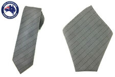 Mens Skinny Black White Plaids Slim Tie 6 cm Pocket Square Set Wedding Necktie