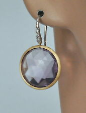 Marco Bicego Earrings Amethyst Diamond Jaipur 18K Yellow Gold Wire $1770 Sale