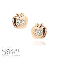 APPLE SHAPE Swarovski Elements Crystal 18-KRGP Gold Plated Bride Stud Earrings