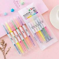 6pc/set Creative Double Headed Highlighter Gel Pen S Stationery Marker L1Q3 G1P2