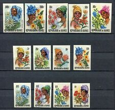 s12282) GUINEA GUINE1966 MNH** Nuovi** African Women & Flowers 13v IMPERFORATED