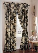 Rose Tree BRYANT PARK Pole Top Drapes Window Curtains Black Silver Modern Floral
