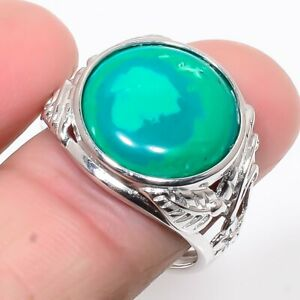 Russian Malachite Gemstone 925 Sterling Silver Jewelry Ring s.Ad S1925