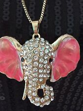 Betsey Johnson Elephant Pink Ear Rhinestone Enamel Necklace Chain