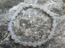 Achat Weiß Armband mit Topas Blau Armband mit Silber 925 -Friedensenergie pur-