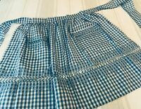 VINTAGE HANDMADE HALF APRON BLUE & WHITE CHECKED GINGHAM W DECORATIVE BORDER