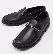NIB $695 ERMENEGILDO ZEGNA Dark Brown Leather Bit-Detail Loafers US 11 D Shoes