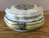 Ceramic Large Lidded Trinket Dish Blue & Lemon Floral 17x8 Cm Vintage Style