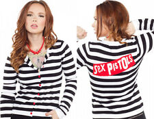 130206 Black & White Striped Sex Pistols Cardigan Red Logo Sourpuss Large L NEW
