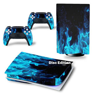 For PS5 Disc Edition Console & 2 Controller Blue Flame Vinyl Wrap Skin Decal