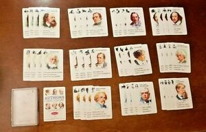 VINTAGE WHITMAN AUTHORS CARD GAME 45 CARD DECK INCLUDING RULE CARD PLUS CASE