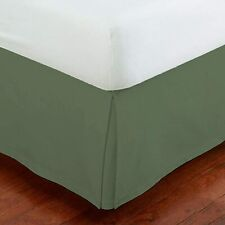 """Mk Collection Solid Pleated Queen Size Bed Skirt 14"""" Drop Sage Green New"""