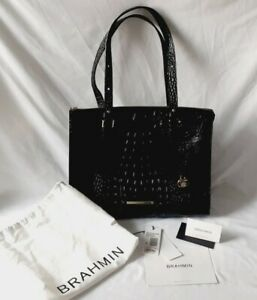 Brahmin Anywhere Black Melbourne Croc Embossed Leather Tote