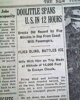 JIMMY DOOLITTLE Transcontinental Passenger AIRPLANE Record Flight 1935 Newspaper