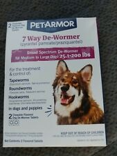 PetArmor 7 Way De-Wormer For Dogs (Over 25 Lbs), 2 Chewable Tablets Exp 5/2021
