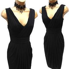 Stunning Coast Black Draped Grecian Style Jersey Cocktail Party Dress UK 8