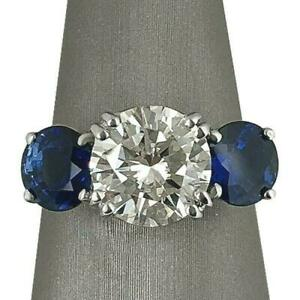 2.5Ct Round Cut Diamond Blue Sapphire Accents Trilogy Ring 14ct White Gold Over