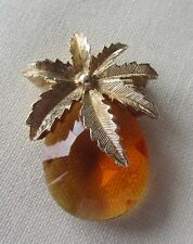 Vintage gold tone Sarah Coventry leaf brooch with brown rhinestone