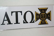 50-pack of Alpha Tau Omega Sticker of Letters & Crest for Outside Glass, Car
