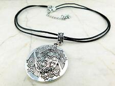 Kurze Halskette mit Anhänger Schildkröte auf Leder Turtle Tiermotiv in Silber