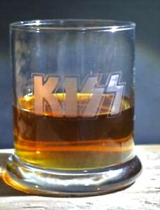 Etched Whiskey glassware Kiss Stackable Great Gifts 12 Oz