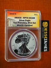 2012 S REVERSE PROOF SILVER EAGLE ANACS PF70 FROM SAN FRANCISCO MINT SET LABEL