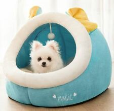 Cute Pet Dog Cat House Sofa Bed House Mat Cushion Half Covered Bed +Ball S,M,L
