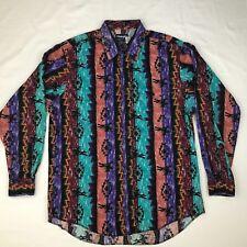 Wrangler Shirt Long Sleeve Western Cowboy Southwestern  Size 17 - 35  Long Tail