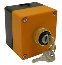 "On/Off Key Switch 22mm 7/8"" with 1-Hole Switch Box"