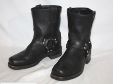 FRYE Leather Square Toe Harness 8R Motorcycle Boots, Mens 7.5 Black USA